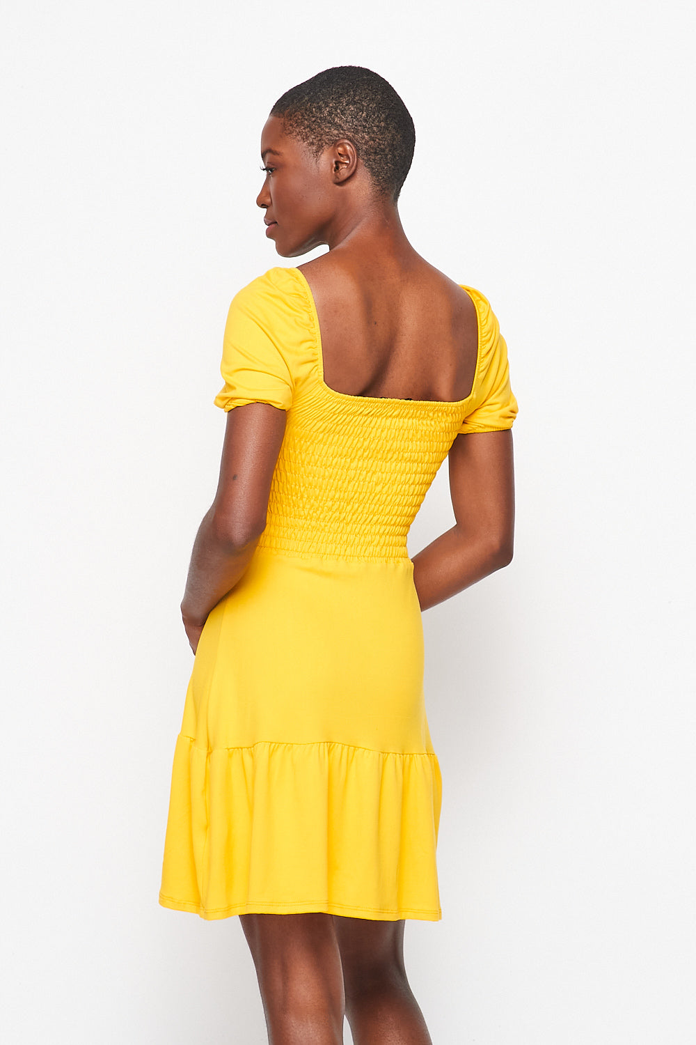 Meghan ✨  Effect Puff Sleeve Smock Dress | Yellow - Velvet Torch