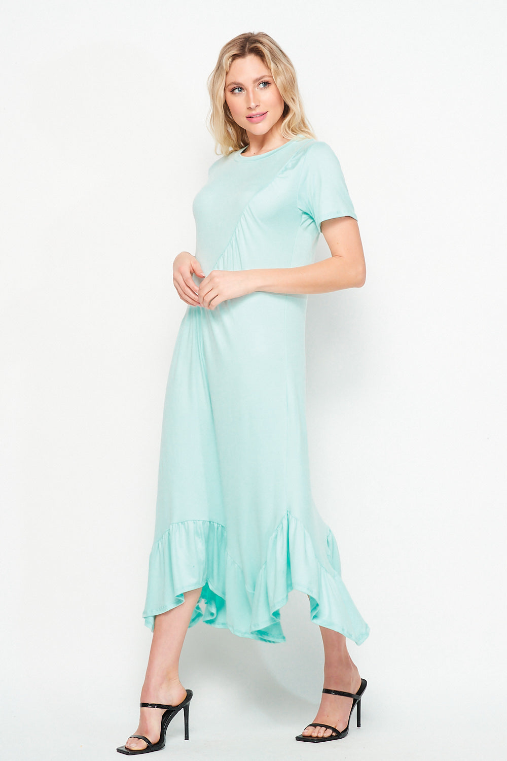 Asymmetrical Ruche T-Shirt Maxi | Mint - Velvet Torch