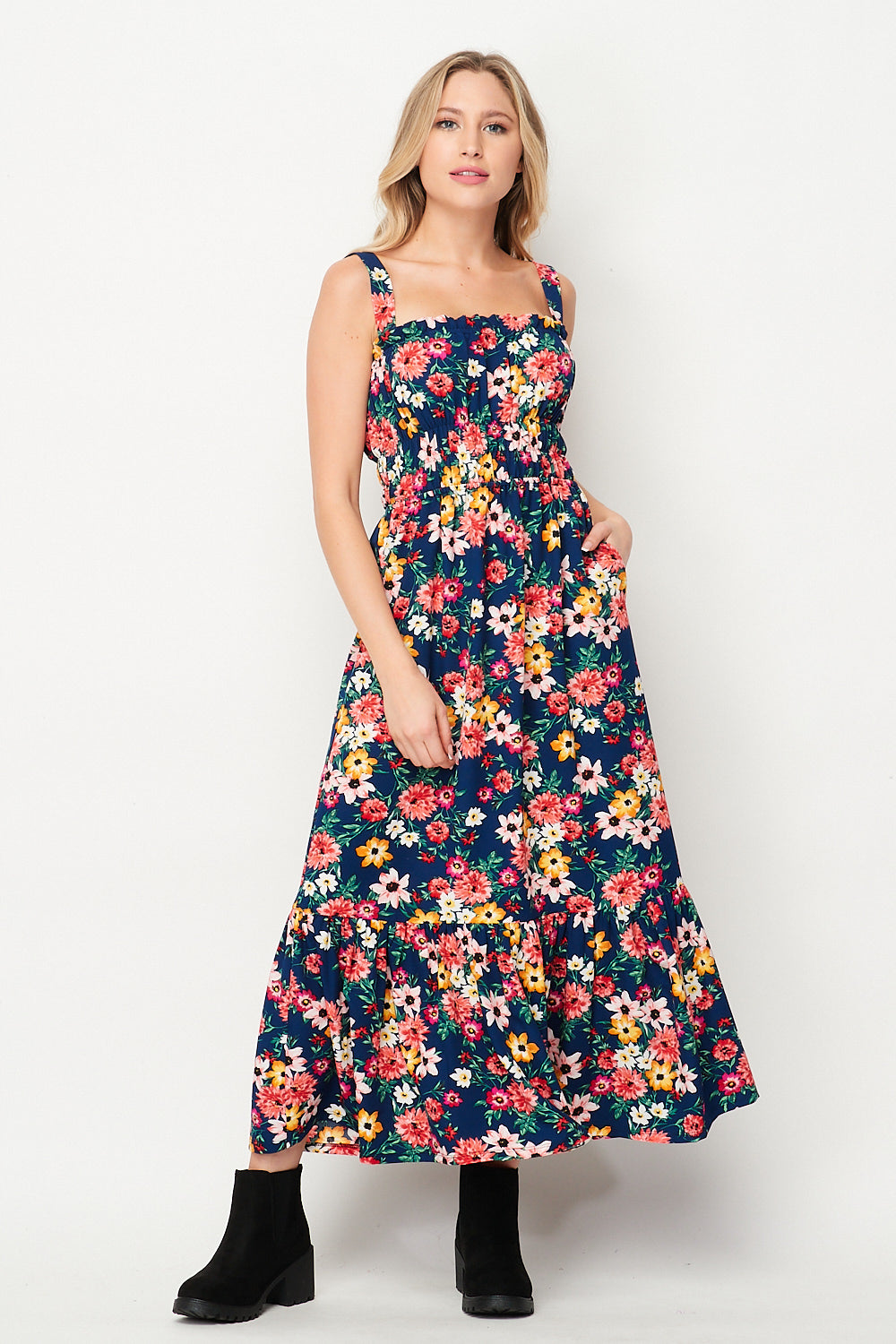 Spring Awakening Maxi Dress w/ Pocket | Blue Floral - Velvet Torch