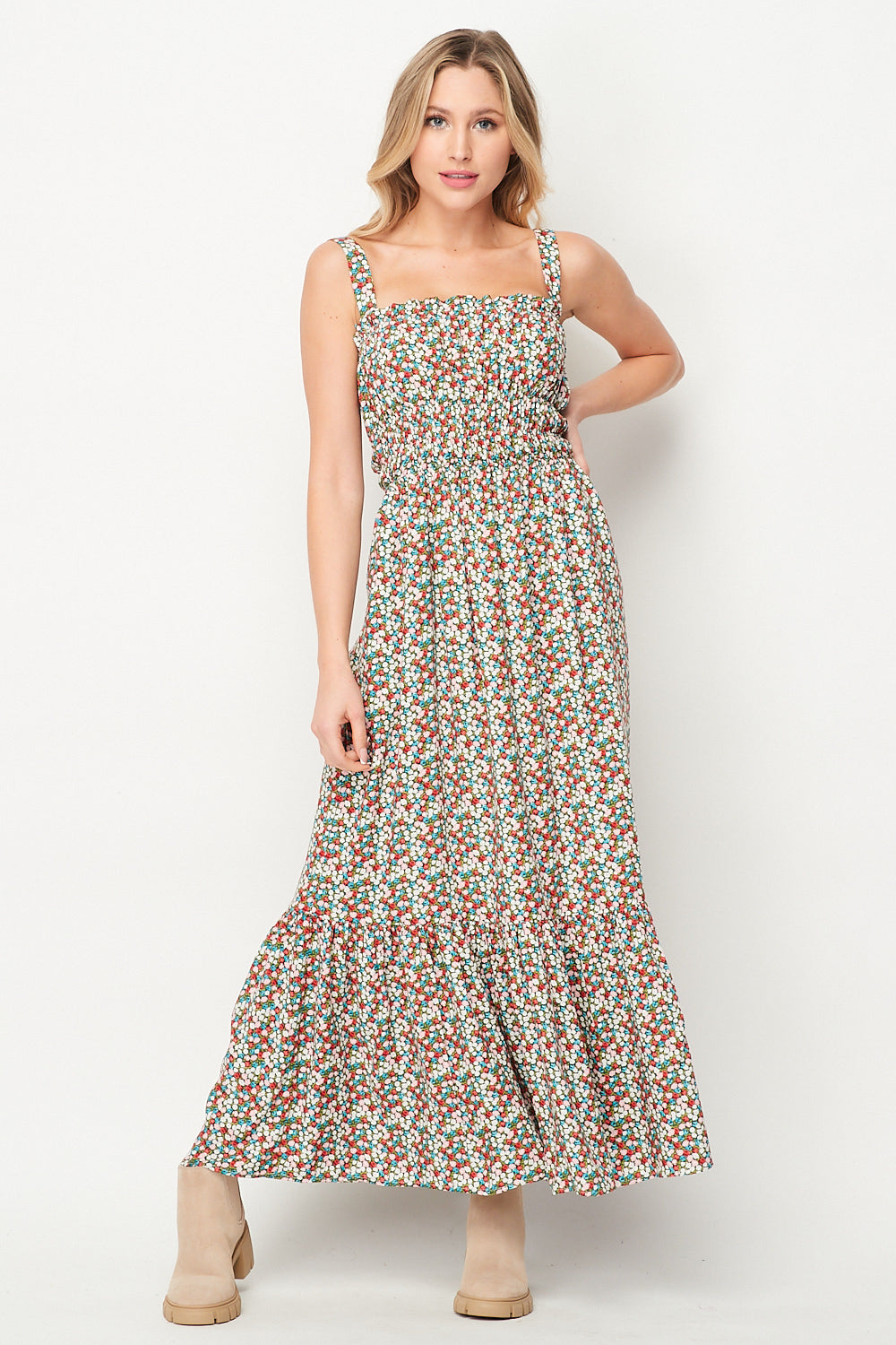 Spring Awakening Maxi Dress w/ Pocket | Ditsy - Velvet Torch