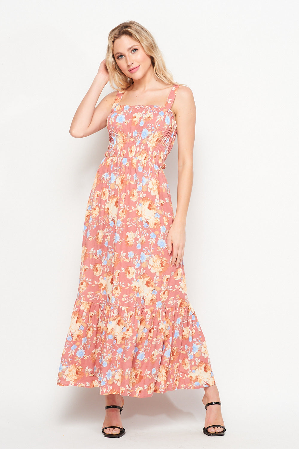 Spring Awakening Maxi Dress w/ Pocket | Peach Floral - Velvet Torch