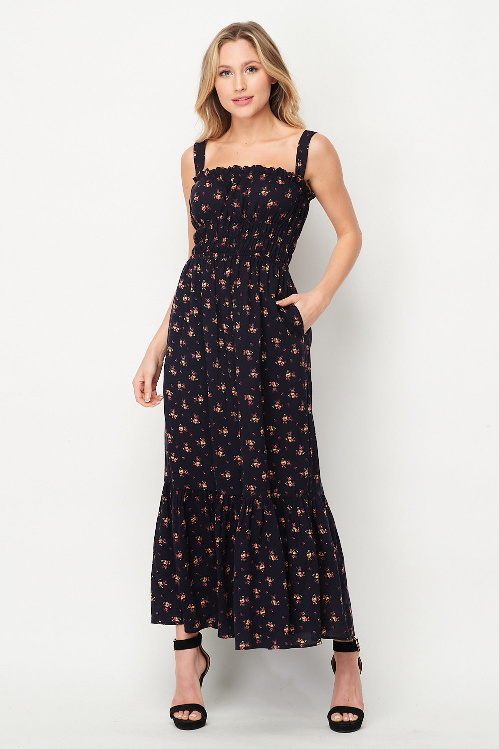 Spring Awakening Maxi Dress w/ Pocket | Navy Floral - Velvet Torch