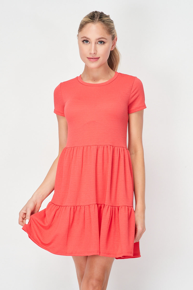 Slow Burn Ruche Tier Tee Dress | Coral - Velvet Torch