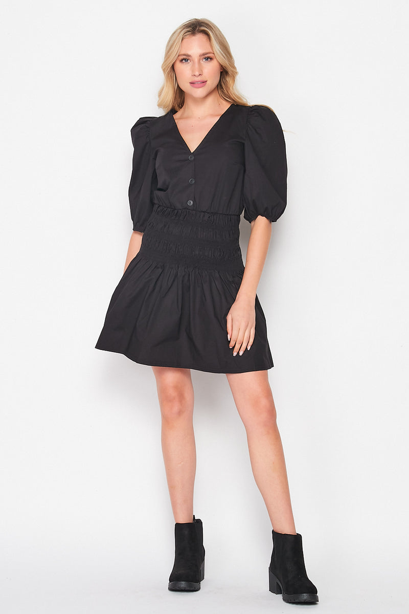 Uptown Girl Puff Sleeve Smocked Poplin Dress | Black - Velvet Torch