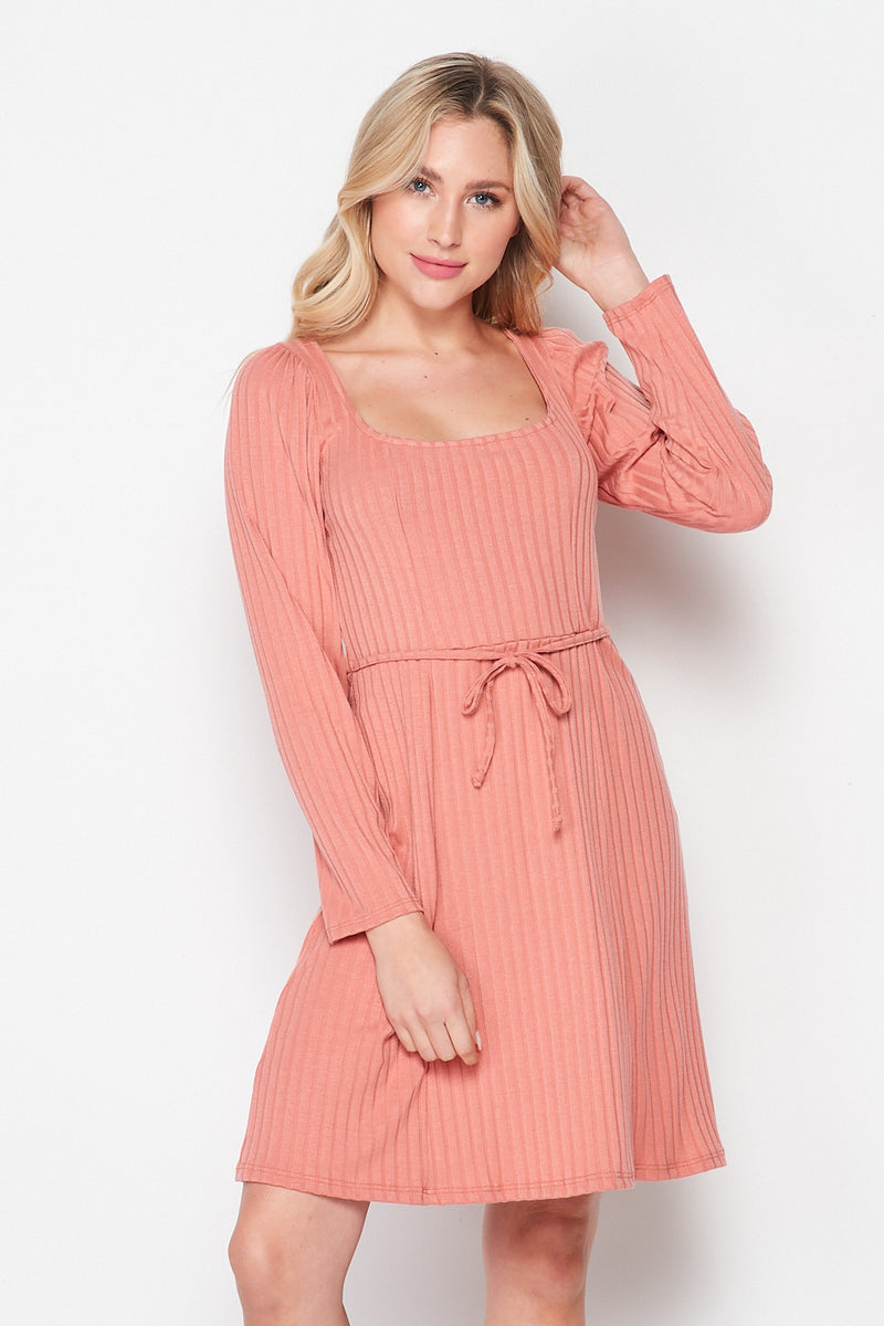 À La Mode Ribbed Knit Skater Dress | Dusty Rose - Velvet Torch