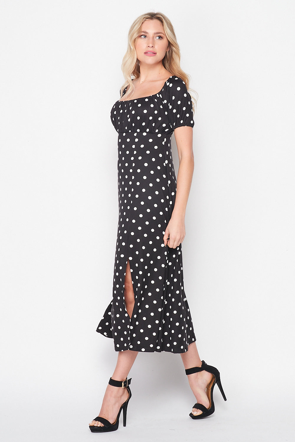 Champagne Brunch Puff Sleeve Knit Dress With Slit | Black/White Dots - Velvet Torch