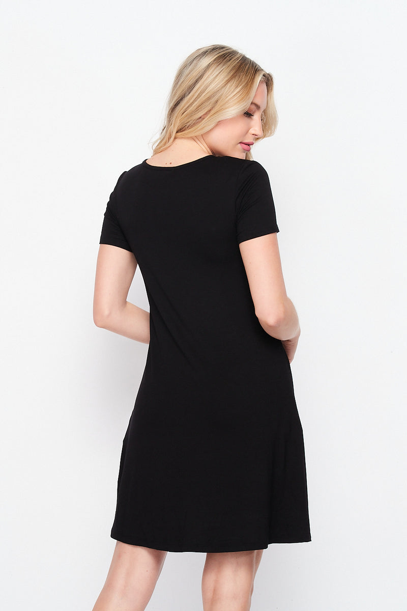 Whats The Tee T-Shirt Mini Dress w/ Pockets | Black - Velvet Torch