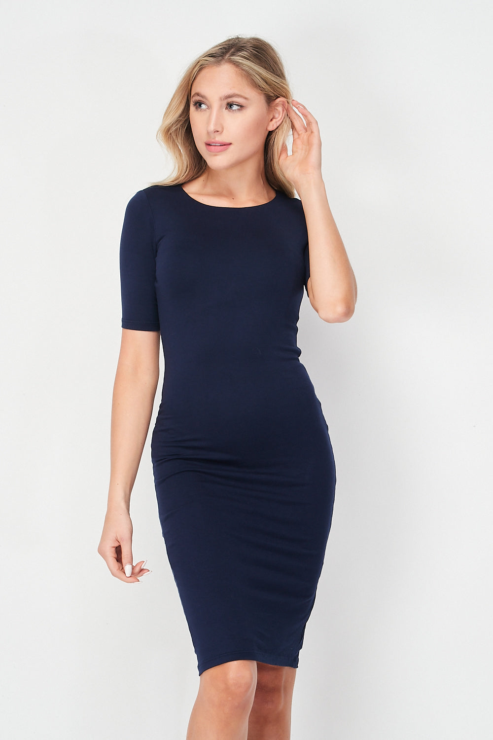 Short Sleeve Midi Knit Dress | Navy - Velvet Torch