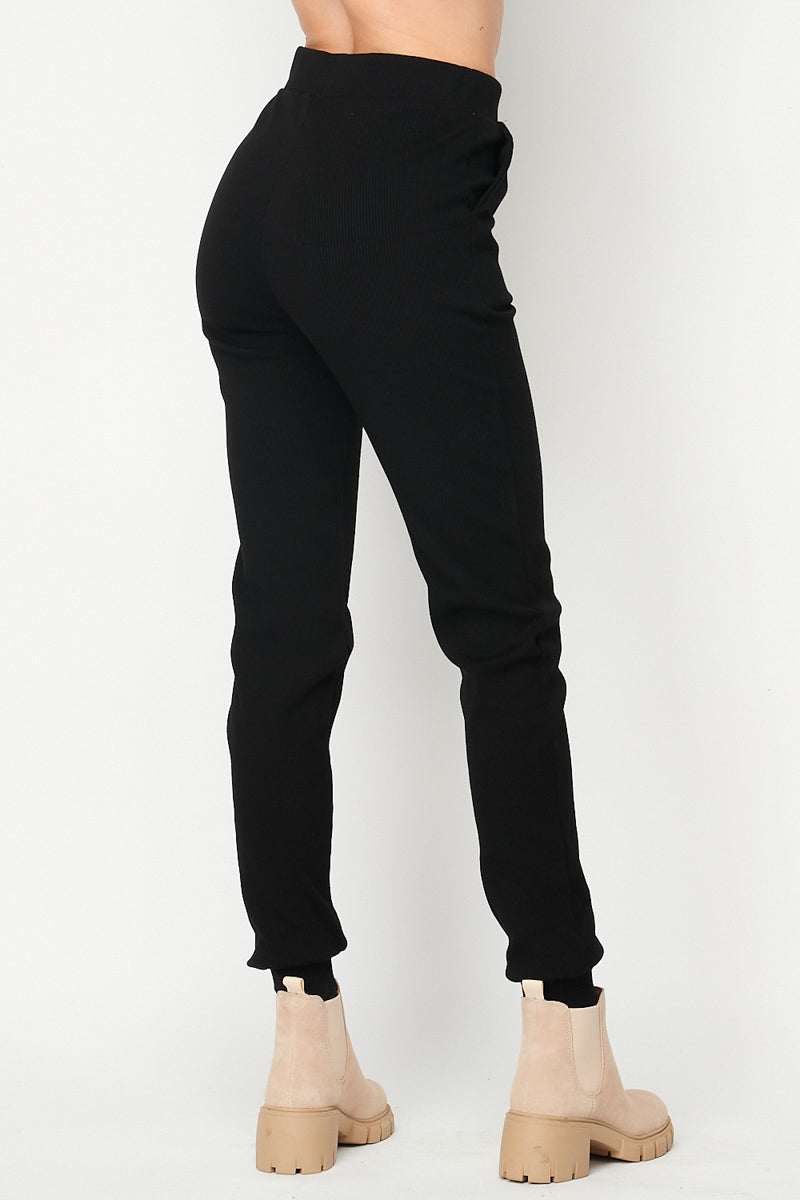 Sophia Ribbed Cigarette Joggers | Black