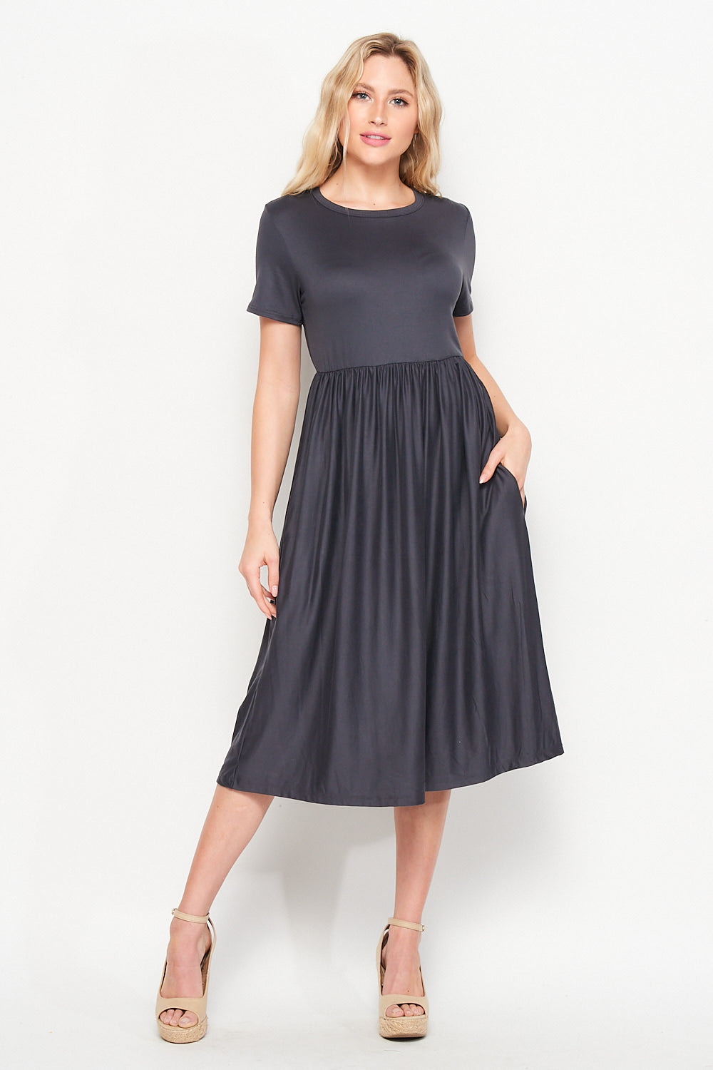 Valentina Pocket Skater Midi Dress | Charcoal - Velvet Torch