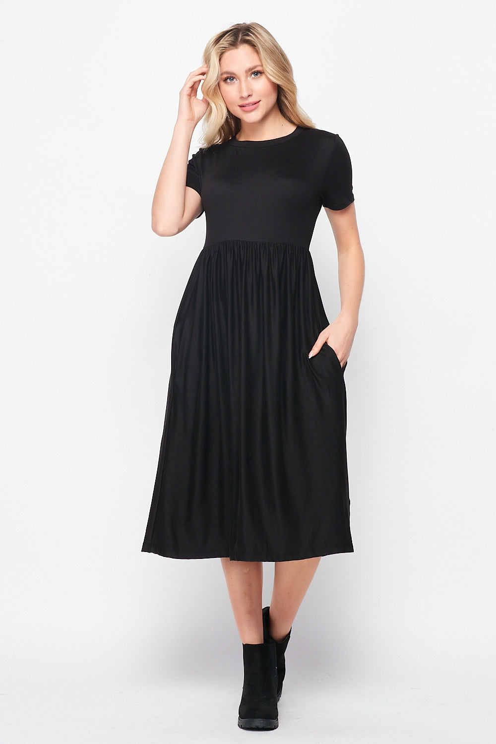 Valentina Pocket Skater Midi Dress | Black - Velvet Torch