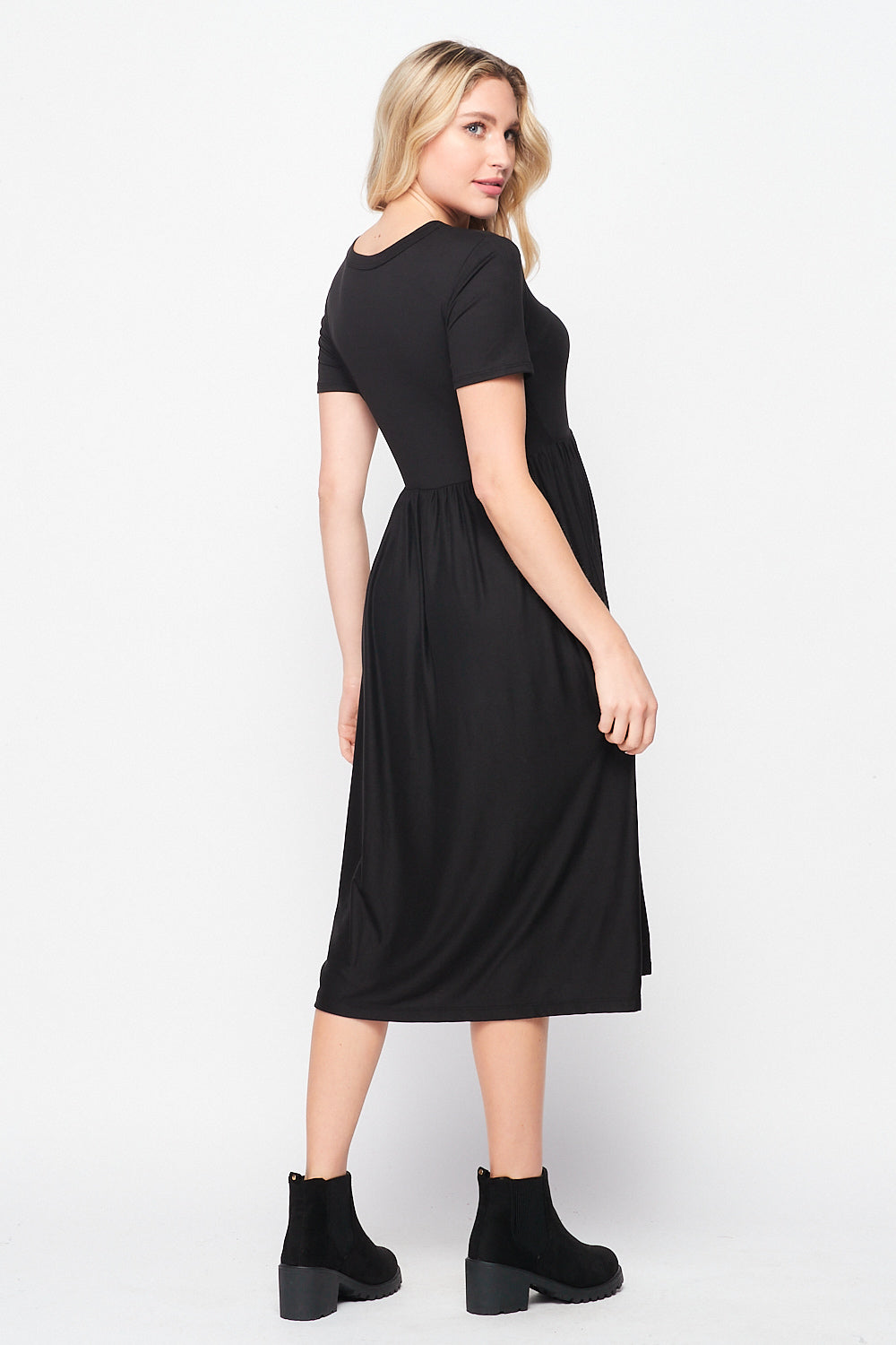 Valentina Pocket Skater Midi Dress | Black