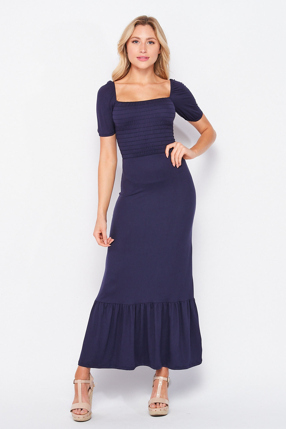 Meghan ✨  Effect Maxi Puff Sleeve Smock Dress | Navy - Velvet Torch