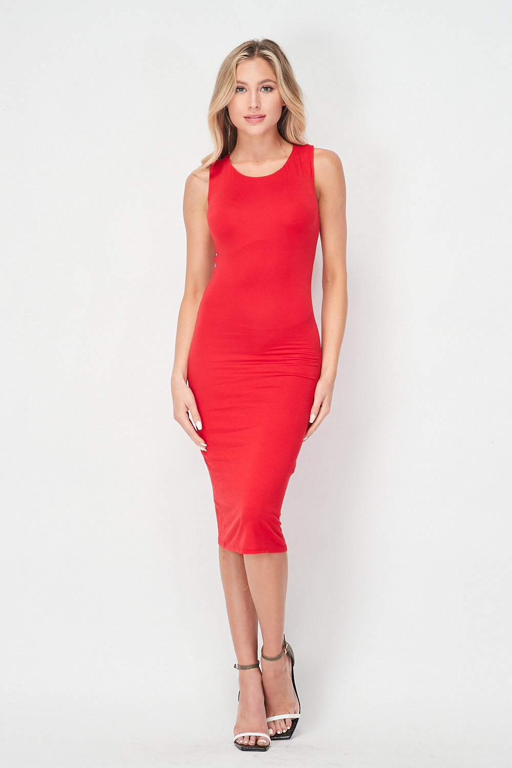 Racerback Midi Knit Dress | Red - Velvet Torch