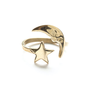 Amano Crescent Moon and Star Ring