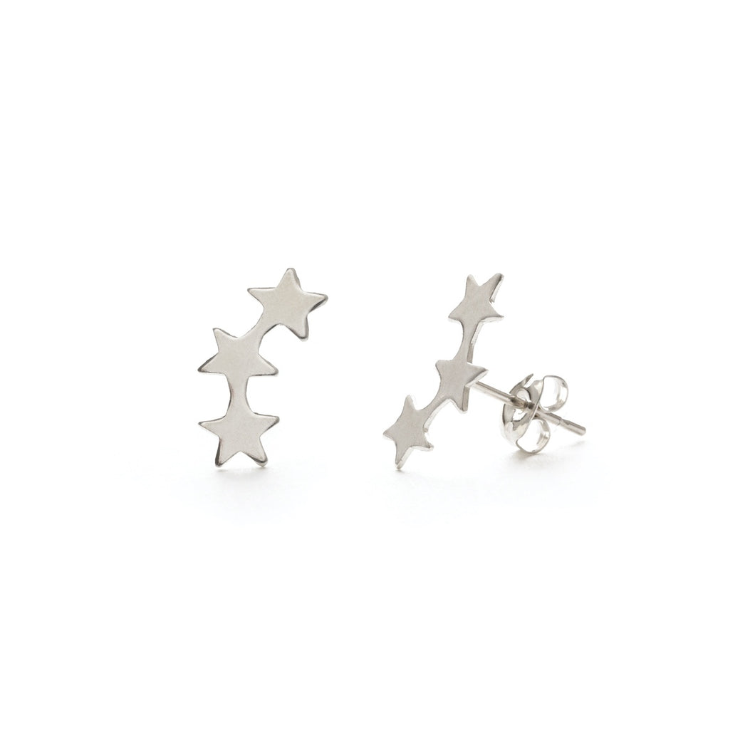 Amano Sterling Silver Star Crystal Studs