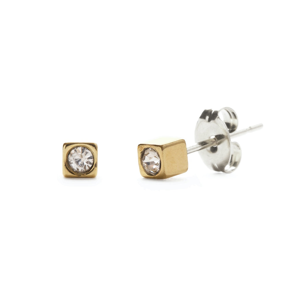 Amano Brass Cube Stud with Crystal