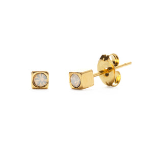 Amano Gold Cube Stud with Crystal (Multiple Crystals Available!)