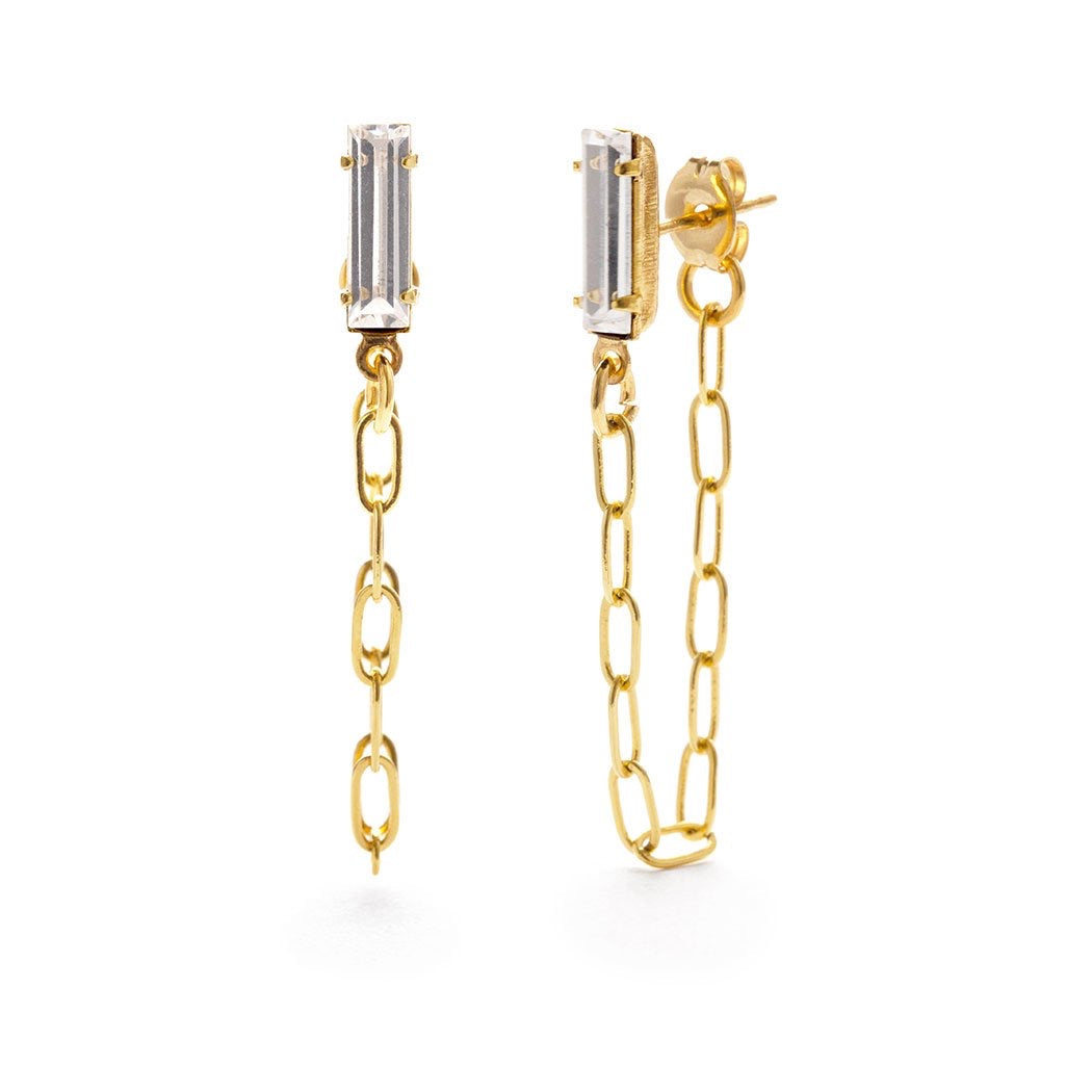 Amano Baguette Chain Crystal Studs