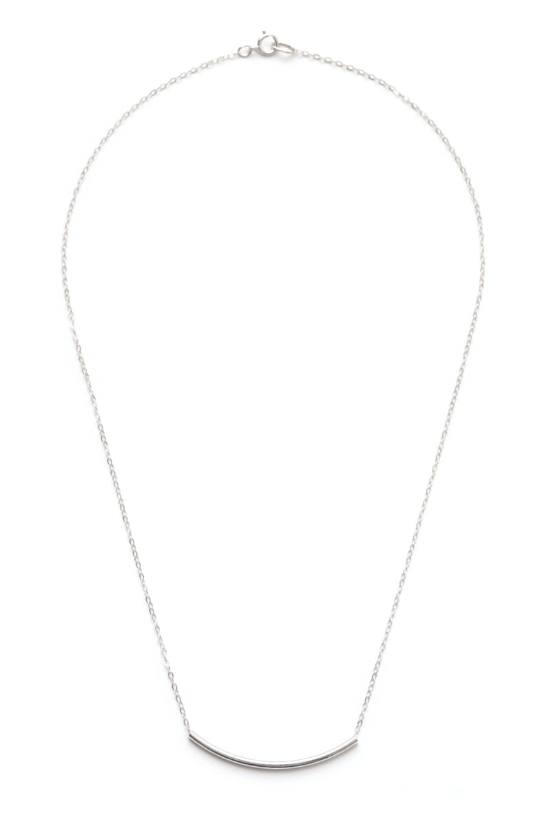 Amano Simple Sterling Silver Tube Necklace