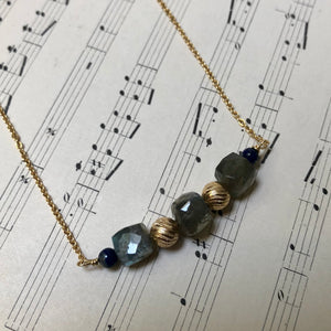 Madame Annie Labradorite Cube Necklace
