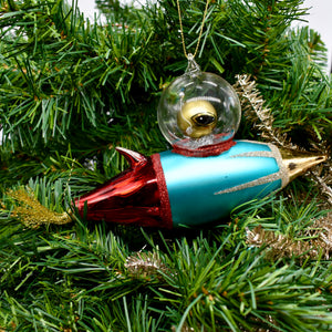 Glass Spaceship Ornament