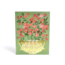 Load image into Gallery viewer, Red Cap Foil Gold Vase Birthday Card