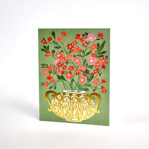 Red Cap Foil Gold Vase Birthday Card