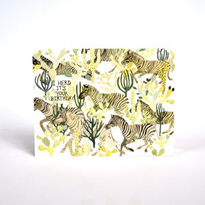 Red Cap Zebra Herd Birthday Card