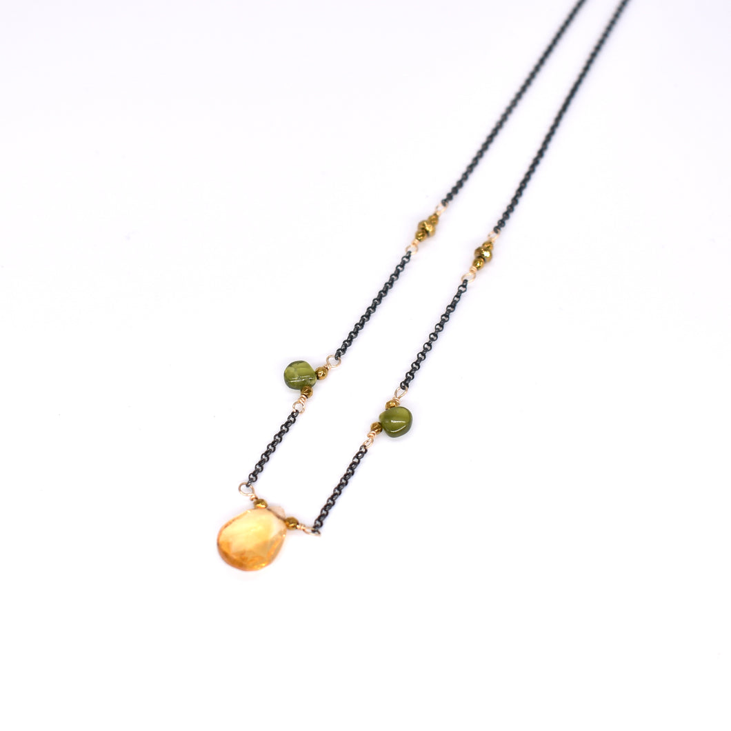 Deana Rose Large Citrine Drop Necklace with Vesuvianite