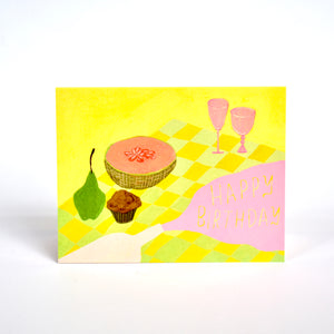 Red Cap Spilled Wine Birthday Card