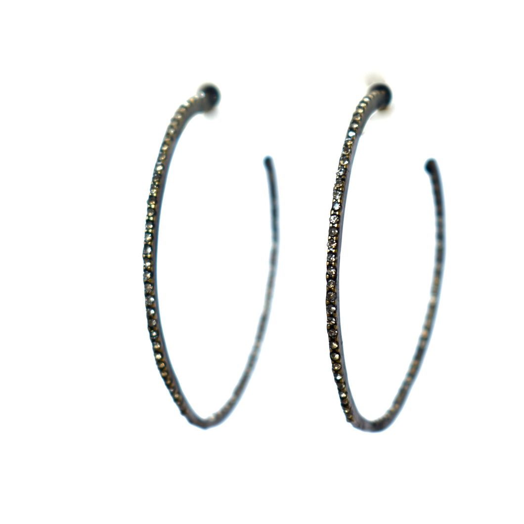 Rebel Double Sided Hoop Post Earrings in Black Diamond