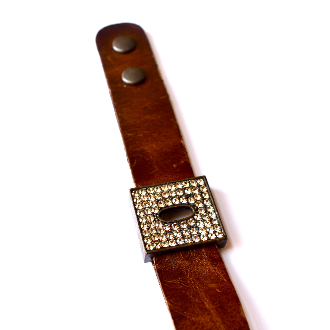 Rebel Pave Square w/ Oval Cutout Leather Cuff Bracelet