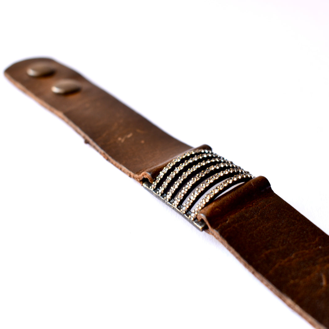 Rebel 6 Stripe Leather Cuff Bracelet