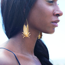 Load image into Gallery viewer, Larissa Loden Brass Cicada Earrings