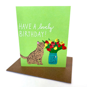 Scratch & Sniff Flower Cat Birthday Card