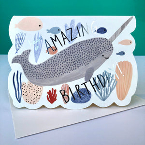 Red Cap Narwhal Birthday Card