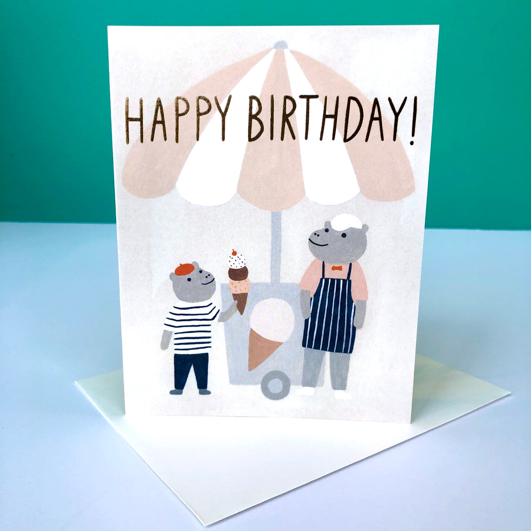 Red Cap Hippo Ice Cream BIrthday Card