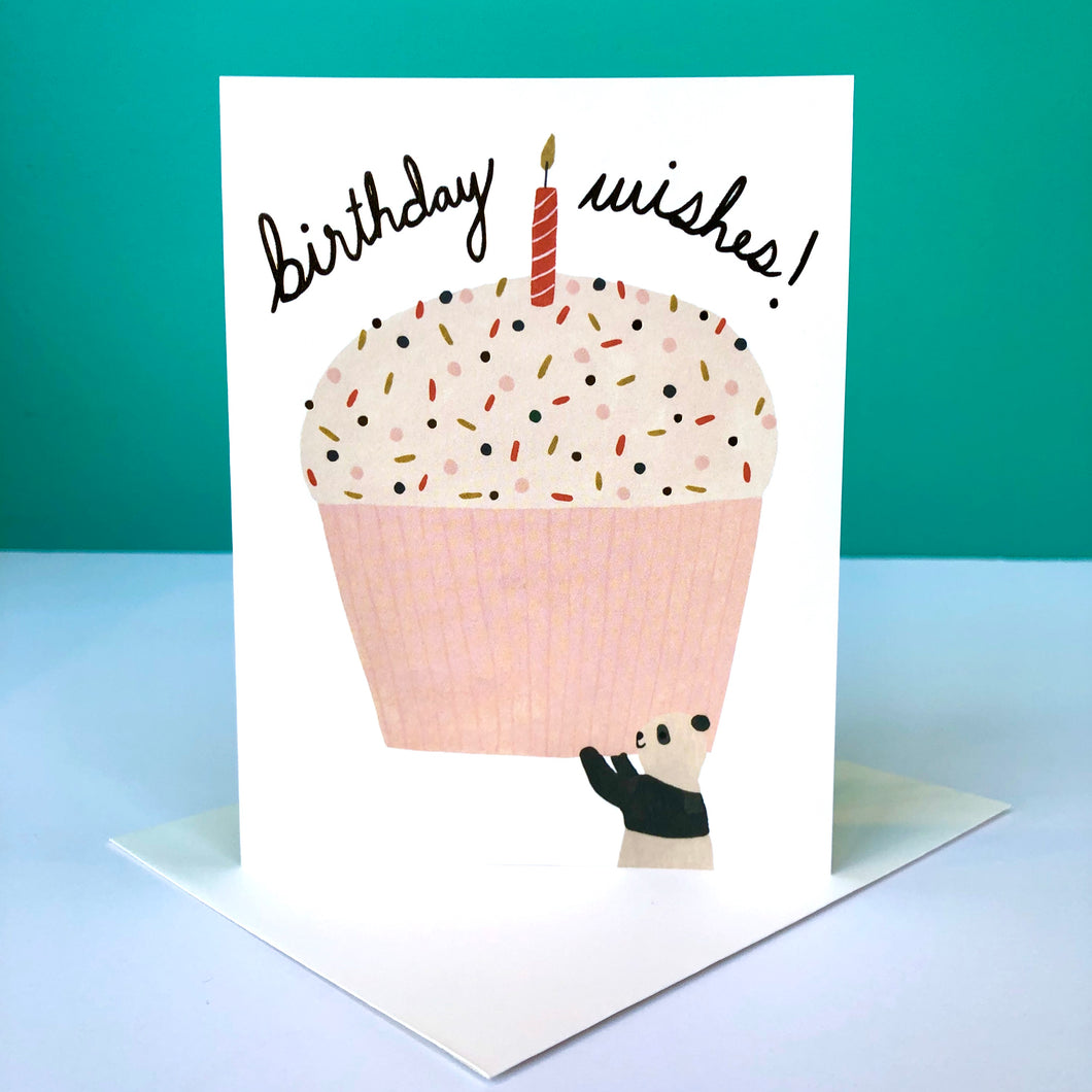 Red Cap Panda Cupcake Birthday Card