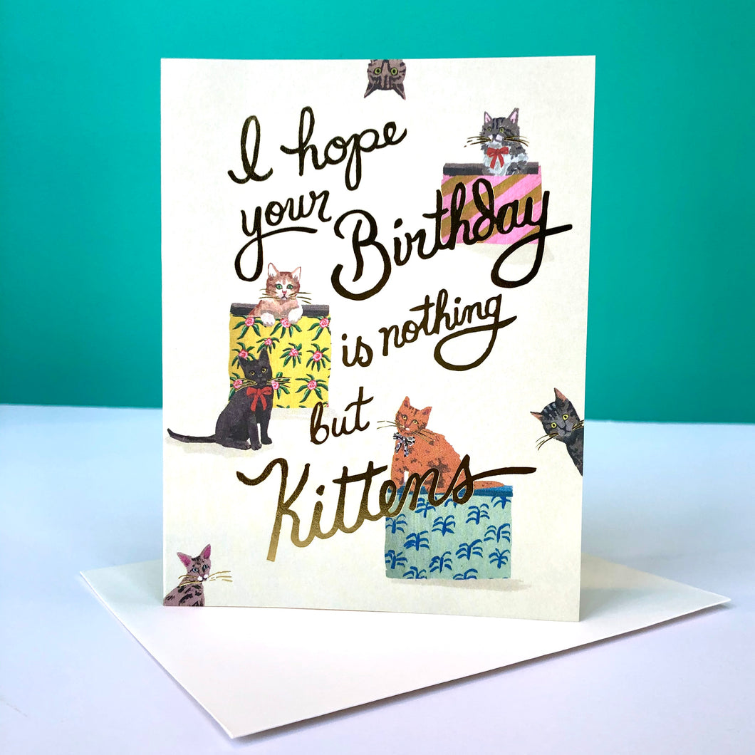 Red Cap Nothing But Kittens Birthday Card