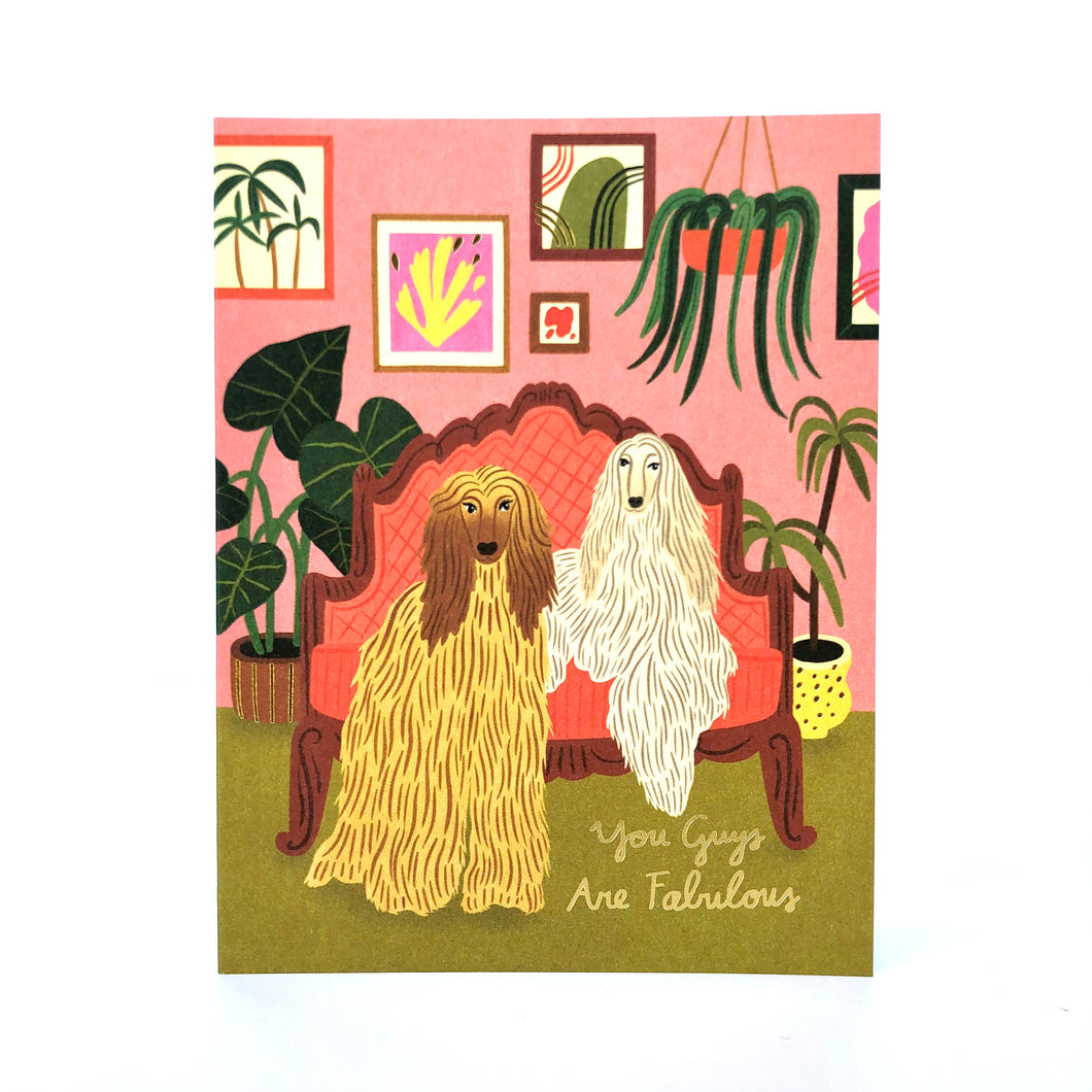 Red Cap Afghan Dogs Friendship Card