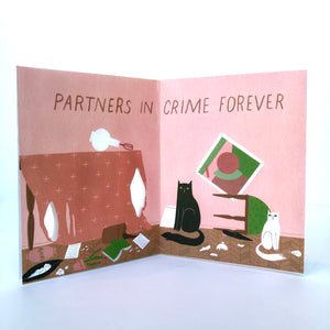 Red Cap Cat Crimes Friendship Card