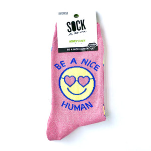 Sock It To Me Be A Nice Human Shimmer Crew Socks