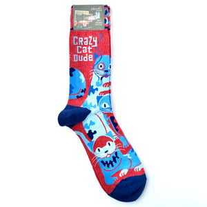 Blue Q Crazy Cat Dude Socks
