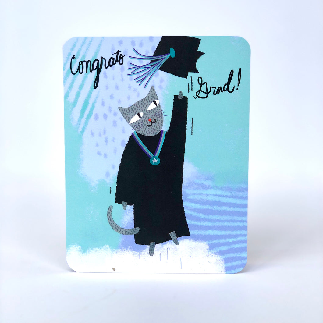 Happy Cat Graduation Card