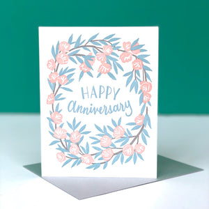 Happy Anniversary Peony Wreath Card