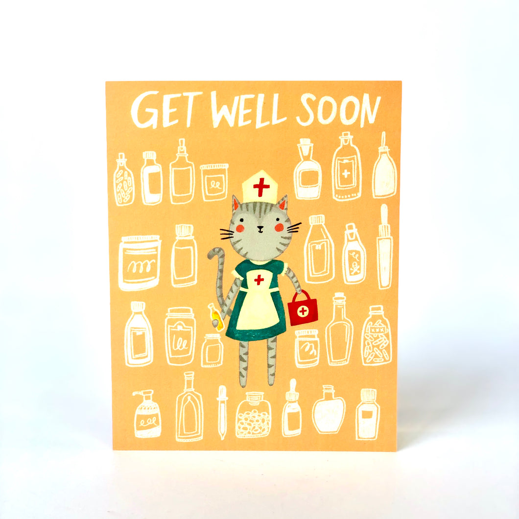 Get Well Soon Cat Nurse Card