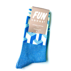 Fun Illusionist Color Block Shimmer Crew Sock