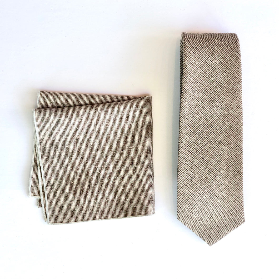 Dibi Beige Flecked Tie & Pocket Square Set