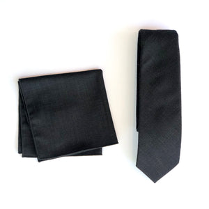 Dibi Black Hatch Tie & Pocket Square Set